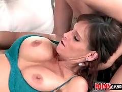 Horny guy fucks girlfriend`s step mom and the girl`s doesn`t at all mind.